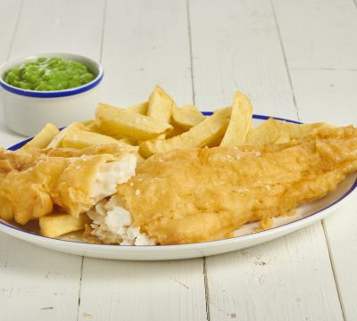 large cod mushy peas cut